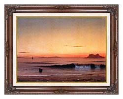 Martin Johnson Heade Twilight Singing Beach Detail canvas with dark regal wood frame