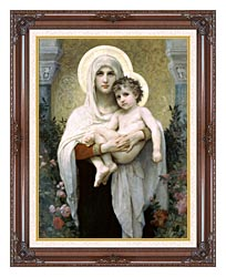 William Bouguereau Madonna Of The Roses canvas with dark regal wood frame