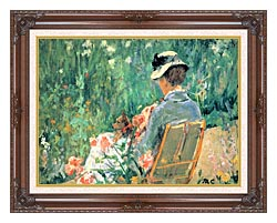 Mary Cassatt Lydia Seated In The Garden With A Dog canvas with dark regal wood frame