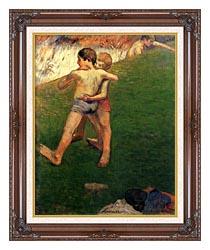 Paul Gauguin Boys Wrestling canvas with dark regal wood frame