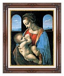 Leonardo Da Vinci Madonna Litta canvas with dark regal wood frame