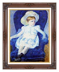 Mary Cassatt Elsie In A Blue Chair canvas with dark regal wood frame