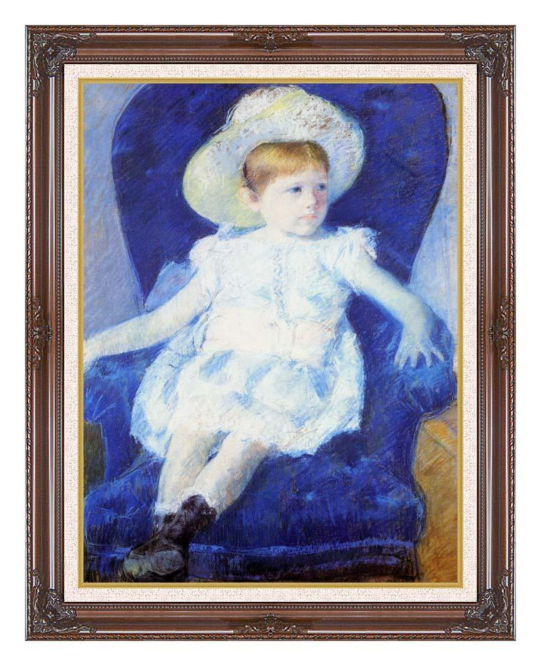Mary Cassatt Elsie in a Blue Chair with Dark Regal Frame w/Liner