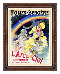 Jules Cheret Folies Bergere Larc En Ciel canvas with dark regal wood frame