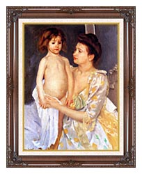 Mary Cassatt Jules Being Dried By His Mother canvas with dark regal wood frame