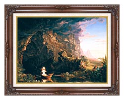 Thomas Cole The Voyage Of Life Childhood canvas with dark regal wood frame