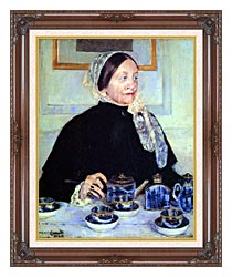 Mary Cassatt Lady At The Tea Table canvas with dark regal wood frame