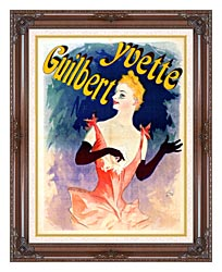 Jules Cheret Yvette Guilbert Au Concert Parisien canvas with dark regal wood frame