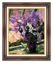 Mary Cassatt Lilacs In The Window canvas with dark regal wood frame
