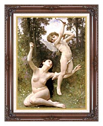 William Bouguereau Love Takes Flight canvas with dark regal wood frame