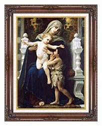 William Bouguereau Madonna And Child With Saint John The Baptist canvas with dark regal wood frame