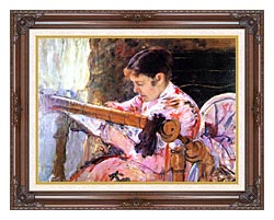 Mary Cassatt Lydia At The Tapestry Loom canvas with dark regal wood frame