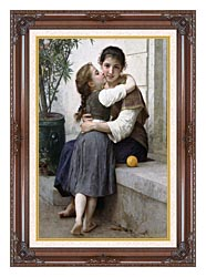 William Bouguereau A Little Coaxing canvas with dark regal wood frame
