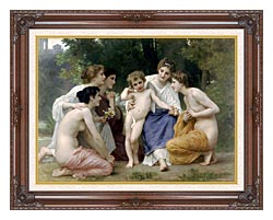 William Bouguereau Admiration canvas with dark regal wood frame