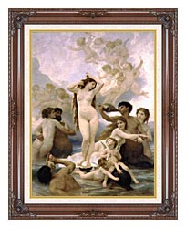 William Bouguereau The Birth Of Venus canvas with dark regal wood frame
