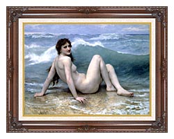 William Bouguereau The Wave canvas with dark regal wood frame