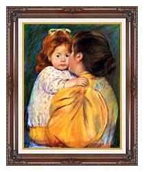 Mary Cassatt Maternal Kiss canvas with dark regal wood frame