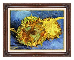 Vincent Van Gogh Two Sunflowers canvas with dark regal wood frame