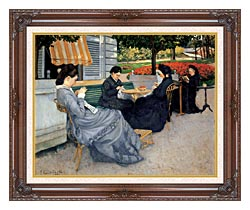 Gustave Caillebotte Portraits In The Countryside canvas with dark regal wood frame