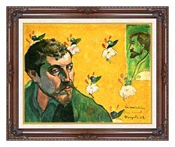 Paul Gauguin Self Portrait Dedicated To Vincent Van Gogh canvas with dark regal wood frame