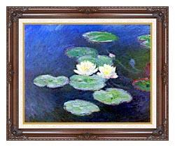 Claude Monet Nympheas Effet Du Soir canvas with dark regal wood frame