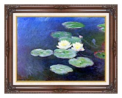 Claude Monet Nympheas Effet Du Soir Detail canvas with dark regal wood frame
