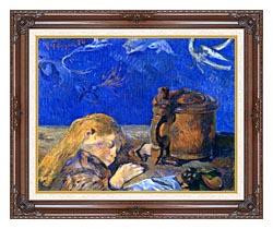 Paul Gauguin Sleeping Child canvas with dark regal wood frame
