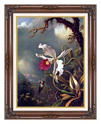 Martin Johnson Heade An Amethyst Hummingbird With A White Orchid canvas with dark regal wood frame