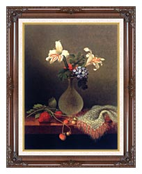 Martin Johnson Heade A Vase Of Corn Lilies And Heliotrope canvas with dark regal wood frame