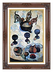 Paul Gauguin Still Life With Three Puppies canvas with dark regal wood frame