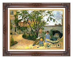 Paul Gauguin The Artists Family In The Garden Of Rue Carcel canvas with dark regal wood frame