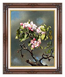 Martin Johnson Heade Branch Of Apple Blossoms Against A Cloudy Sky canvas with dark regal wood frame