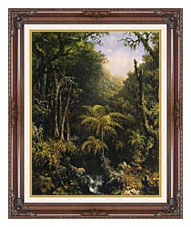 Martin Johnson Heade Brazilian Forest canvas with dark regal wood frame