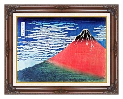 Katsushika Hokusai Mount Fuji In Clear Weather canvas with dark regal wood frame