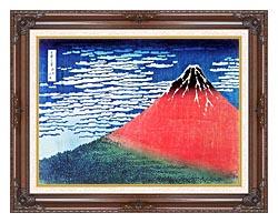 Katsushika Hokusai Mount Fuji In Clear Weather canvas with dark regal wood frame