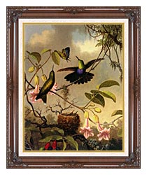 Martin Johnson Heade Fork Tailed Woodnymph canvas with dark regal wood frame