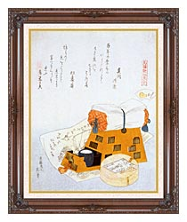 Katsushika Hokusai A Pillow And A Drawing Of A Good Luck Ship A New Years Custom canvas with dark regal wood frame