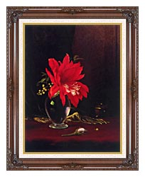 Martin Johnson Heade Red Flower In A Vase canvas with dark regal wood frame