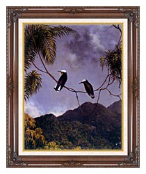 Martin Johnson Heade Snowcap Hummingbirds canvas with dark regal wood frame