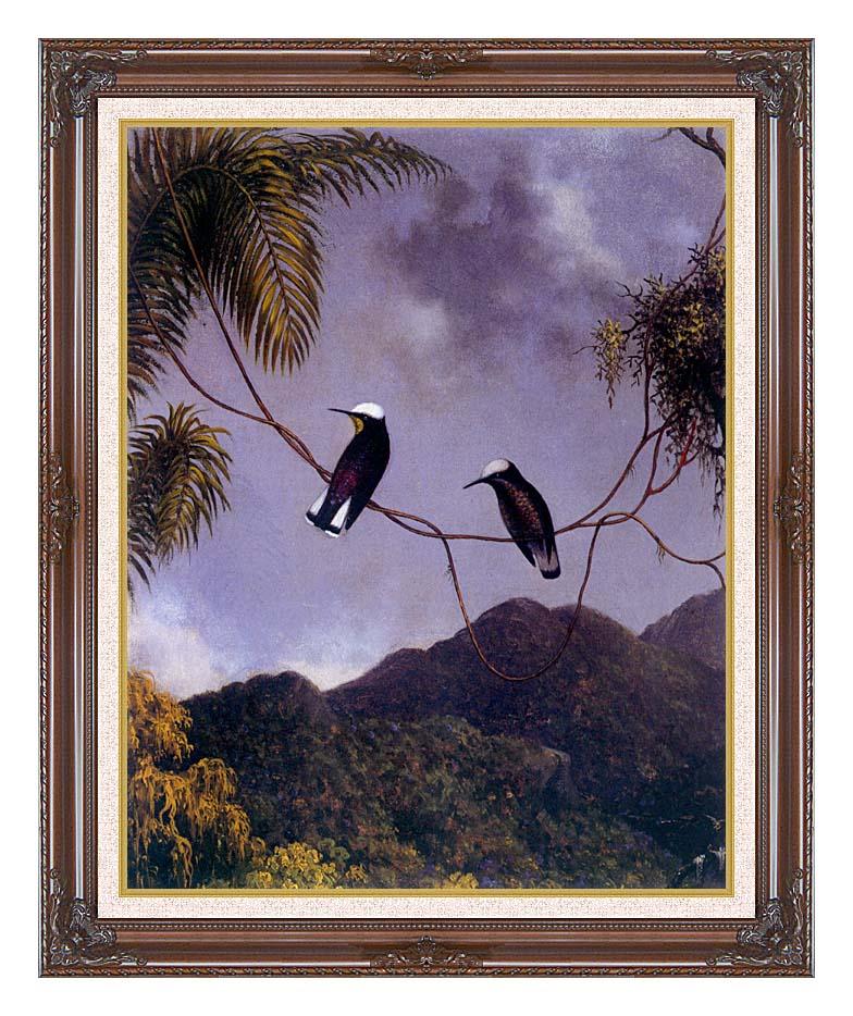 Martin Johnson Heade Snowcap Hummingbirds with Dark Regal Frame w/Liner