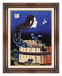 Katsushika Hokusai Okiku The Plate Specter canvas with dark regal wood frame
