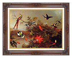Martin Johnson Heade Tropical Landscape With Ten Hummingbirds canvas with dark regal wood frame