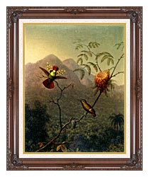 Martin Johnson Heade Tufted Coquette canvas with dark regal wood frame