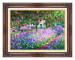 Claude Monet The Artists Garden At Giverny Detail canvas with dark regal wood frame