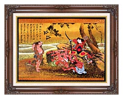 Katsushika Hokusai Tametomo And The Demons At Onigashima canvas with dark regal wood frame