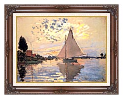 Claude Monet Sailboat At Petit Gennevilliers canvas with dark regal wood frame