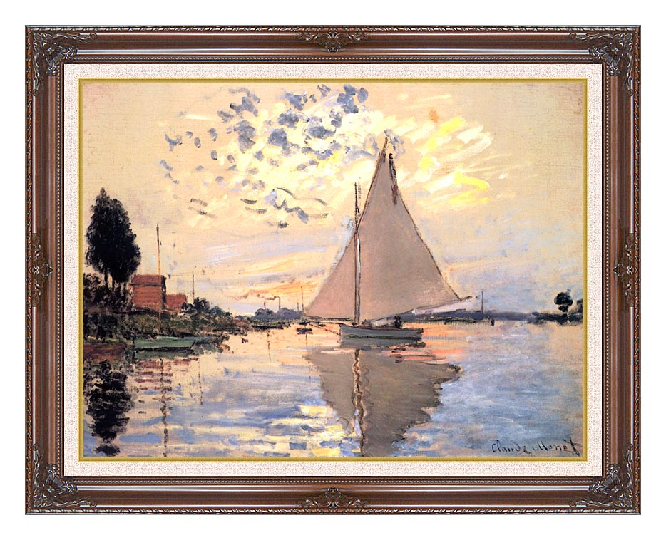 Claude Monet Sailboat at Petit-Gennevilliers with Dark Regal Frame w/Liner
