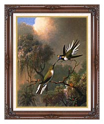 Martin Johnson Heade Two Sungems On A Branch canvas with dark regal wood frame