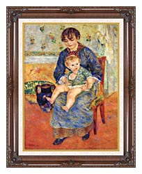 Pierre Auguste Renoir Mother And Child In A Chair canvas with dark regal wood frame