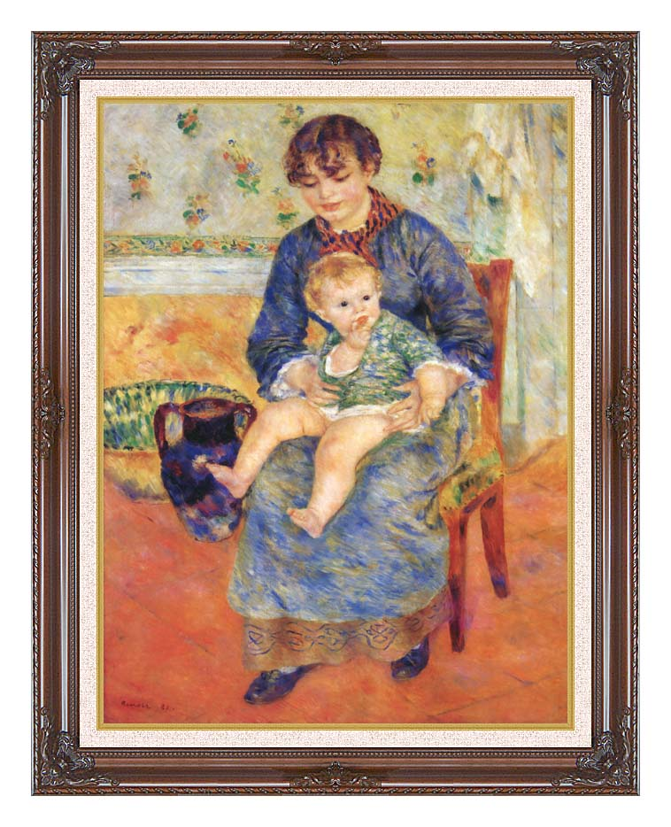 Pierre Auguste Renoir Mother and Child in a Chair with Dark Regal Frame w/Liner